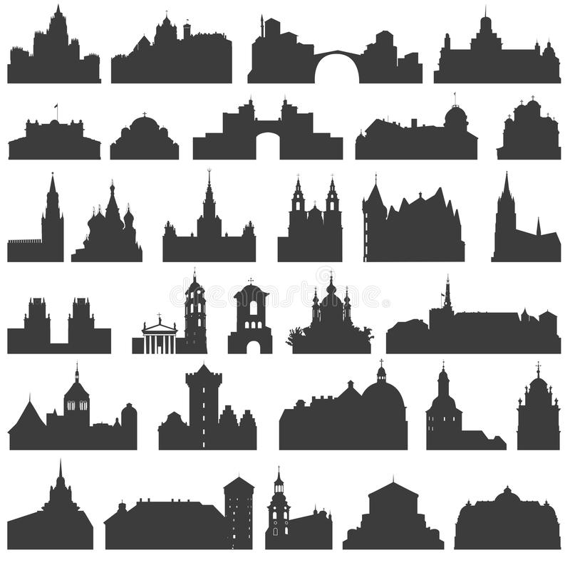 Vector collection of isolated palaces, temples, churches, cathedrals, castles, city halls, edifices, ancient buildings and other royalty free illustration