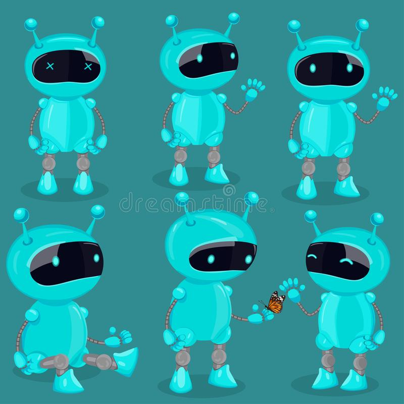 Collection isolated robot in cartoon style. Blue cute vector robots royalty free illustration