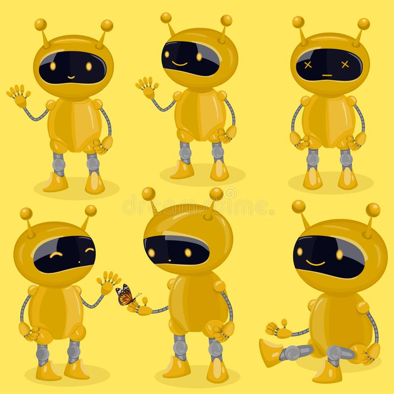 Collection isolated robot in cartoon style showing different emotions. Yellow cute vector robots vector illustration