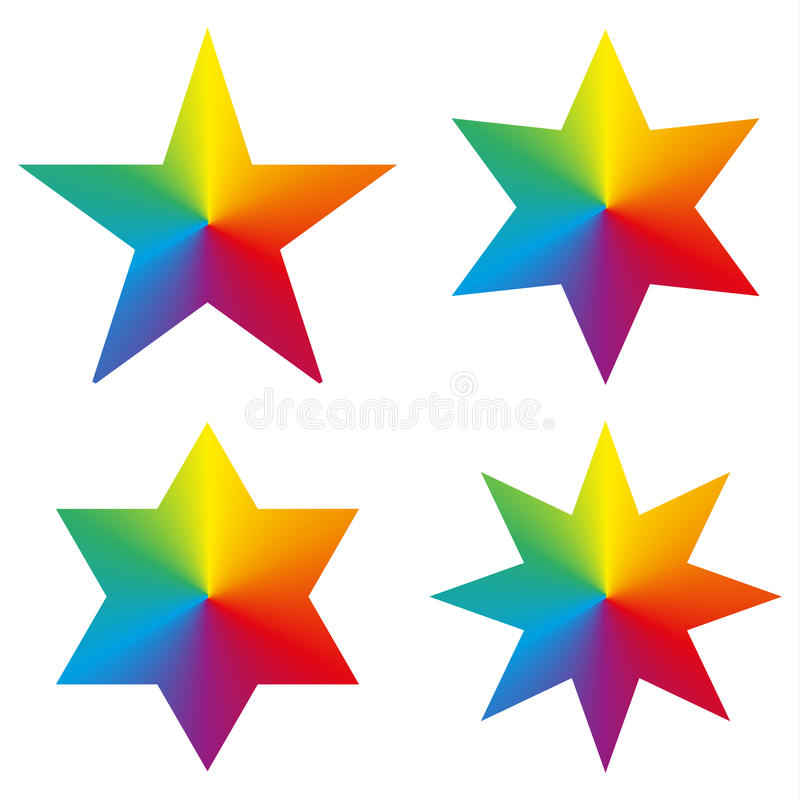 Collection of 4 isolated stars with rainbow gradient stock illustration