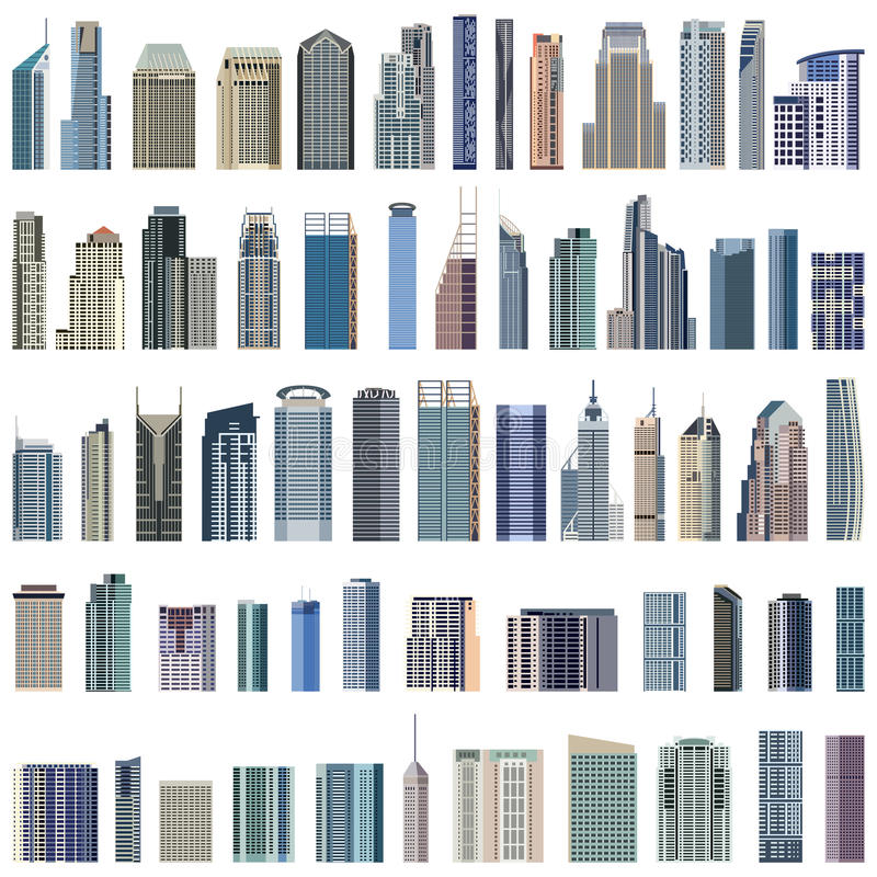 Collection of isolated vector buildings illustration royalty free illustration