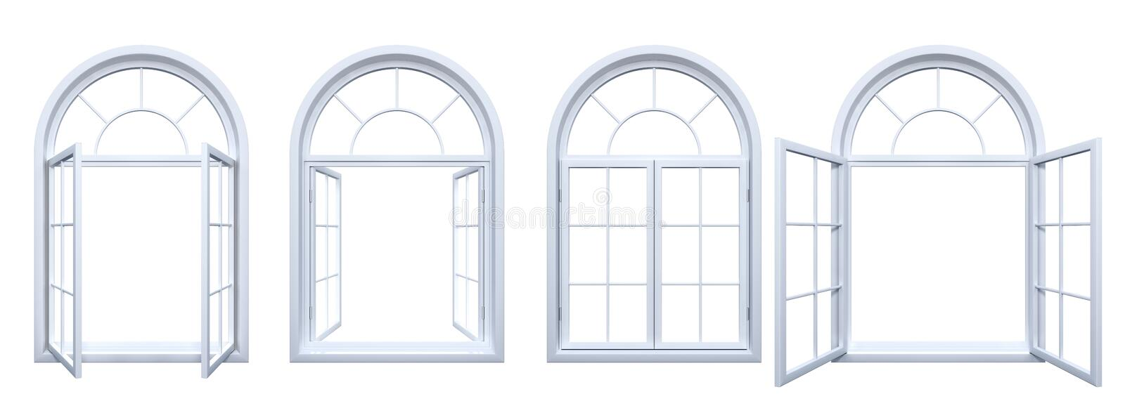 Collection of isolated white arched windows. 3D of isolated arched white windows stock illustration
