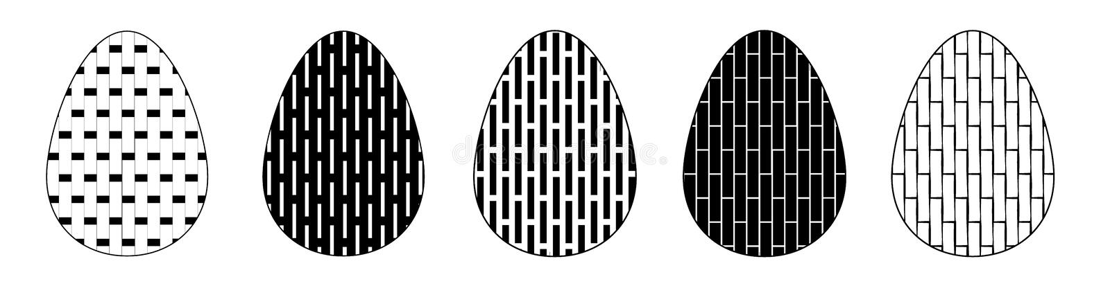 Set of isolated on white background Easter eggs with geometric pattern. Collection of black and white flat egg icons. . Collection of isolated on white royalty free illustration