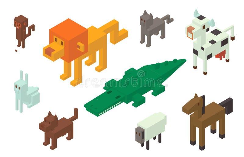 Collection isométrique animale d'icônes du vecteur 3d illustration de vecteur
