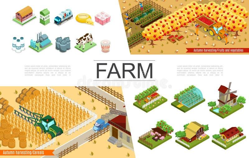 Collection isométrique d'éléments d'agriculture illustration de vecteur