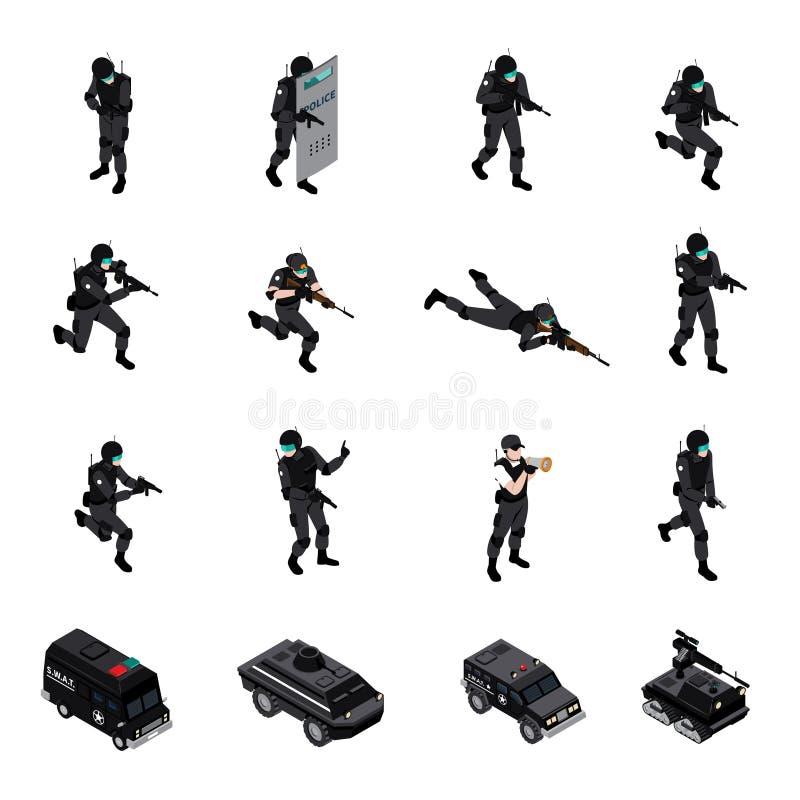 Collection isométrique d'icônes d'unité spéciale d'armes illustration de vecteur