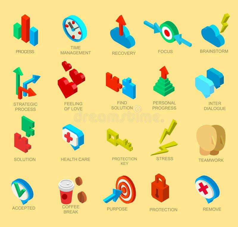 Collection isométrique d'icônes du processus d'esprit humain illustration libre de droits