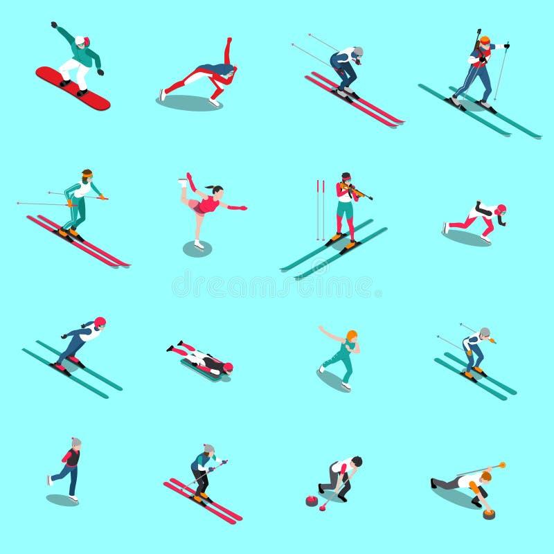 Collection isométrique de personnes de Snowsports illustration de vecteur
