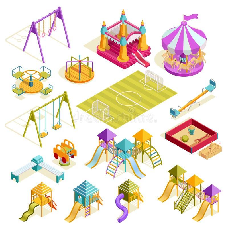 Collection isométrique de terrain de jeu illustration libre de droits