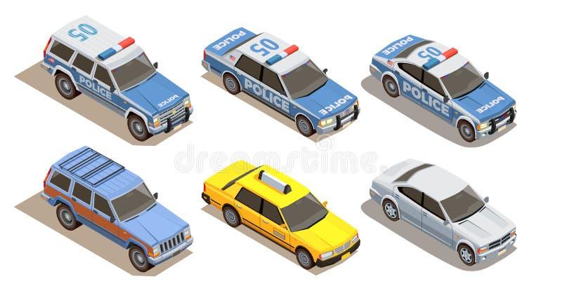 Collection isométrique de voitures de tourisme illustration libre de droits