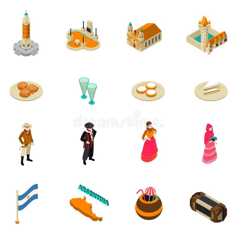 Collection isométrique touristique argentine d'icônes de symboles illustration stock