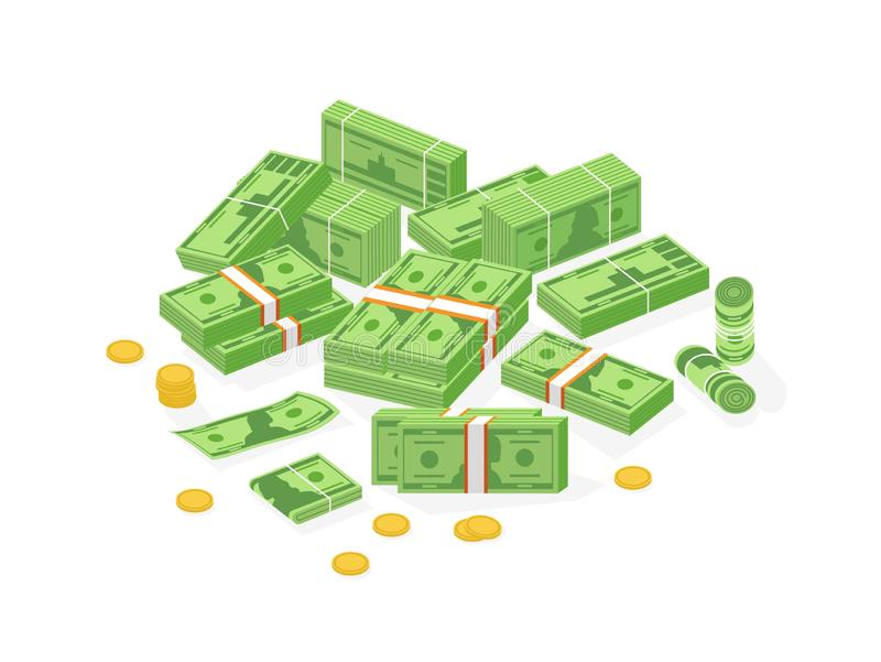 Collection of isometric cash money or currency. Set of Dollar bills or banknotes in packs, rolls and bundles and cent. Coins isolated on white background stock illustration