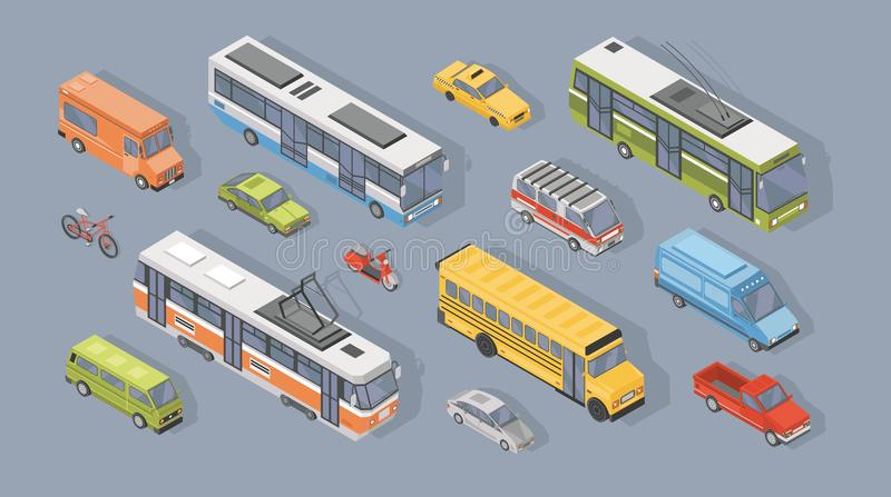 Collection of isometric motor vehicles on gray background - car, scooter, bus, tram, trolleybus, minivan. Bicycle, pickup truck. Set of automobile transport vector illustration