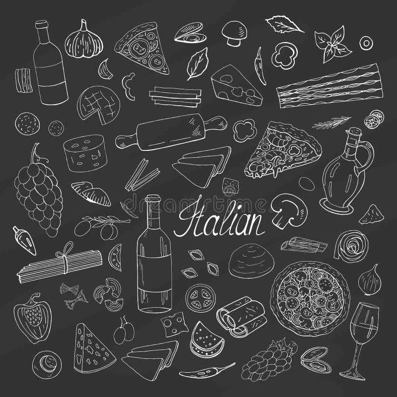 Collection italienne tirée par la main de nourriture de cru sur le fond noir Ensemble italien de vecteur pour le menu de café illustration stock