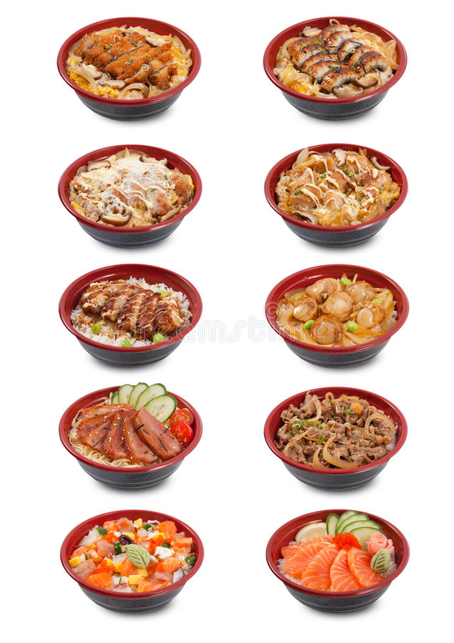 Collection of Japanese donburi. In A3 size, white background royalty free stock images
