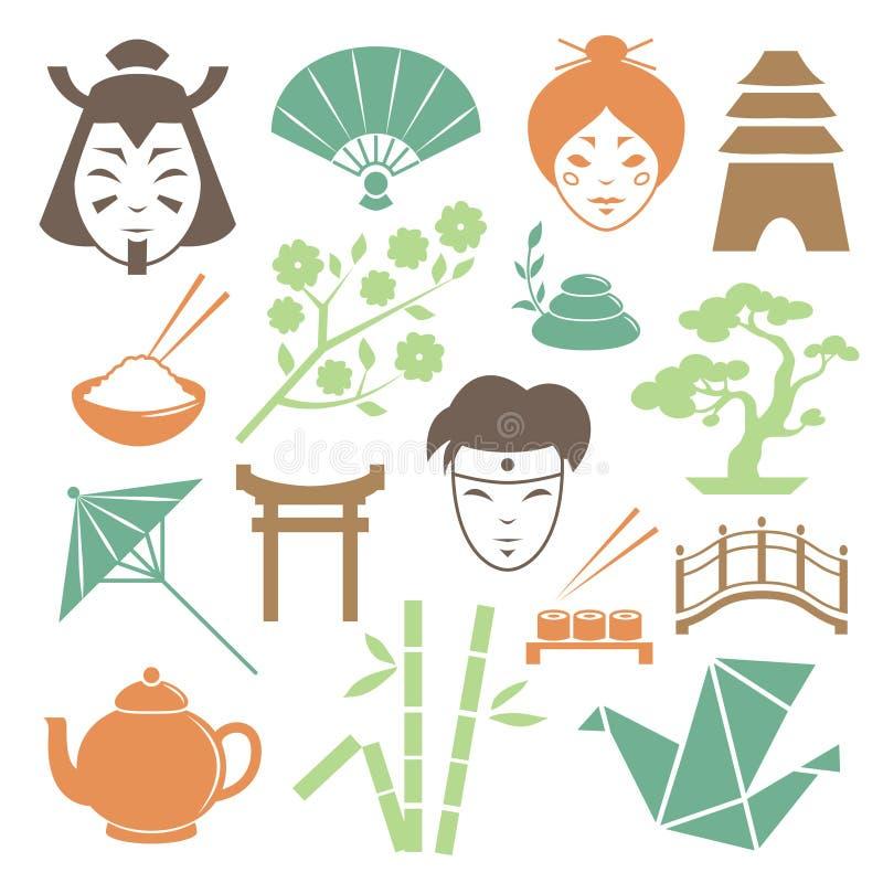 Collection japonaise d'éléments de conception de culture illustration de vecteur