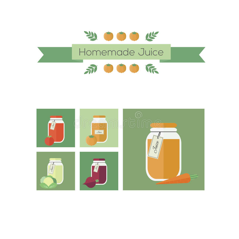 Collection of jars with juice. Vector objects in flat stock illustration