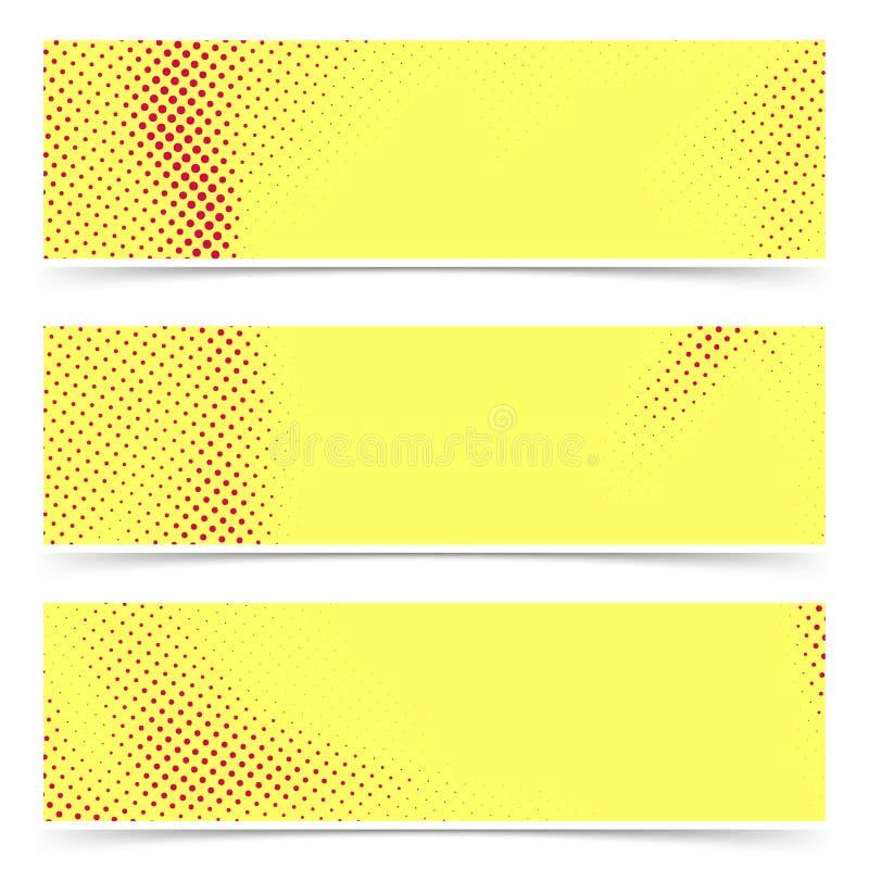 Collection jaune rouge lumineuse de bannières d'art de bruit de style ancien La BO comique illustration de vecteur