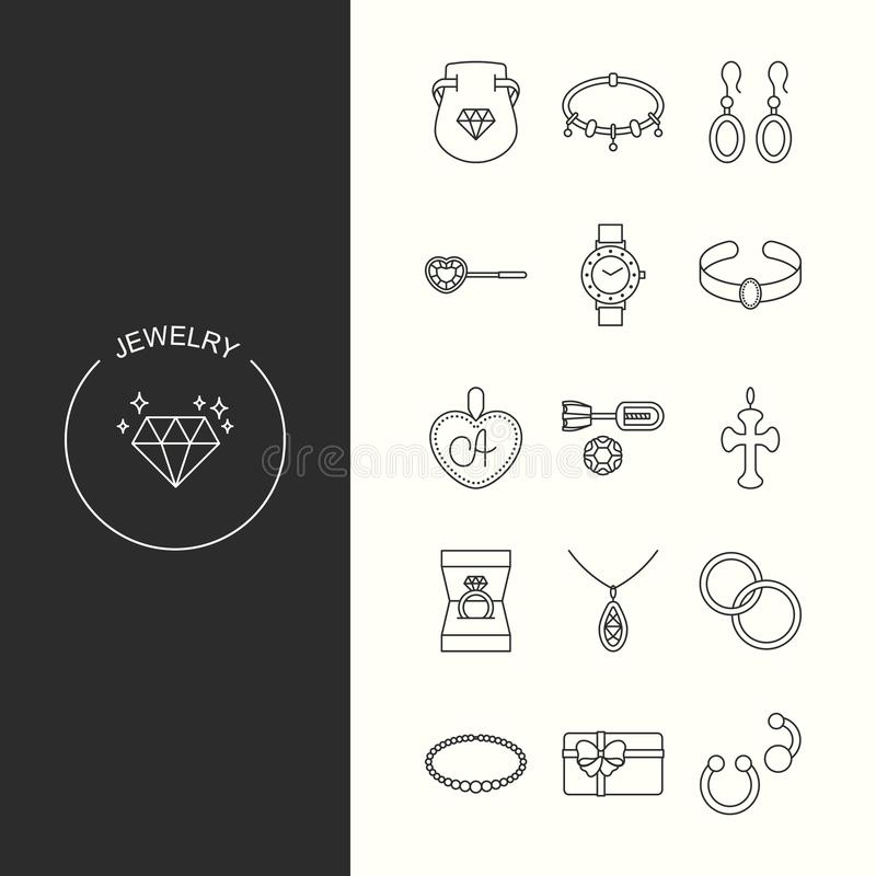 Collection of jewelry outline icons vector illustration
