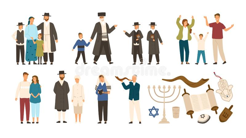 Collection of jews and Jewish or Hebrew symbols. Couple, happy family, boys reading Torah and playing Shofar. Cute. Cartoon characters isolated on white vector illustration