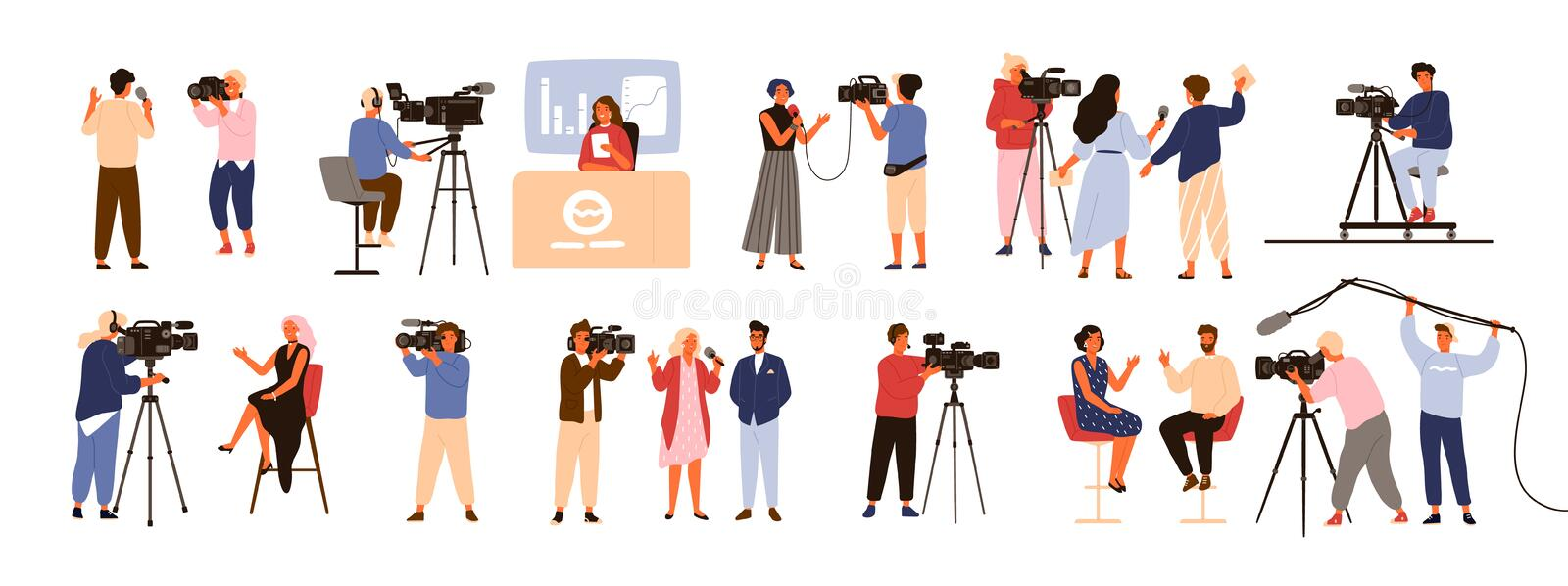 Collection of journalists, talk show hosts interviewing people, news presenters and cameramen or videographers with vector illustration