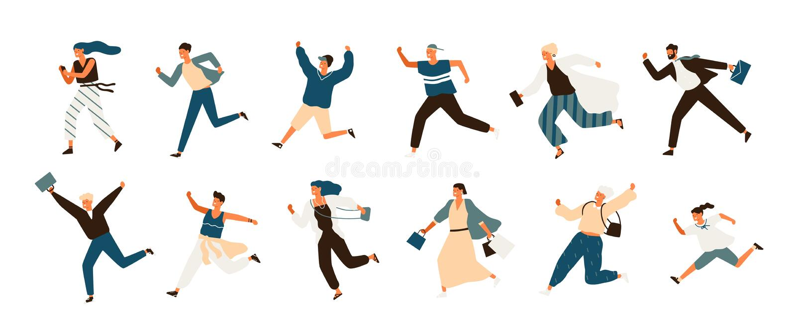 Collection of joyful running men and women dressed in casual clothes. Set of funny smiling people in hurry or haste royalty free illustration