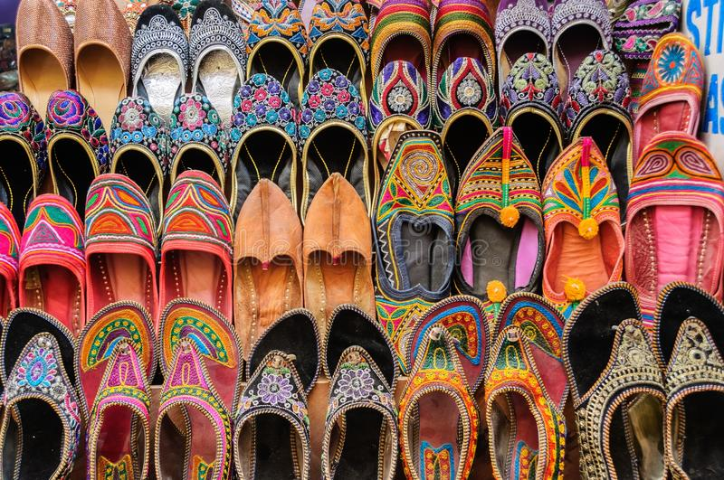 Collection of Jutti traditional shoes of Rajasthan, India stock photography