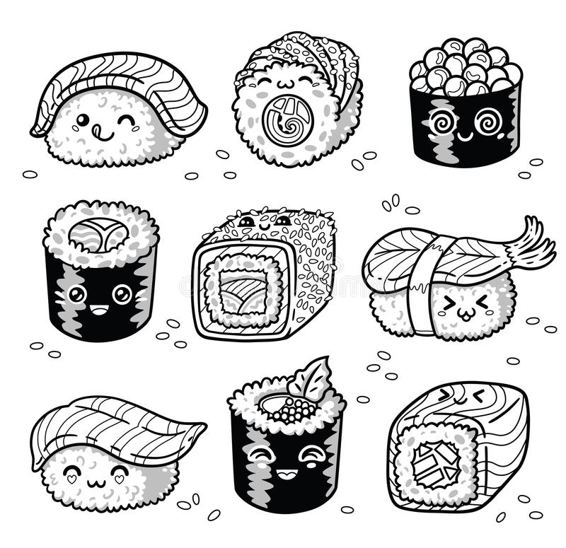 Kawaii rolls and sushi manga cartoon set in outline. Collection of kawaii rolls and sushi in manga style. Tasty japanese food set in ink. Fun set for coloring royalty free illustration