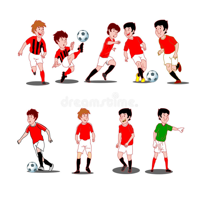 Collection of kids playing soccer royalty free illustration