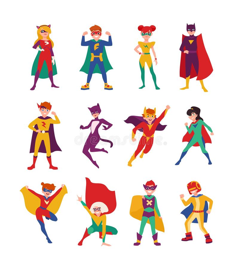 Collection of kids superheroes. Bundle of boys and girls with super powers. Set of strong and brave children wearing. Tight-fitting costumes and capes. Vector vector illustration