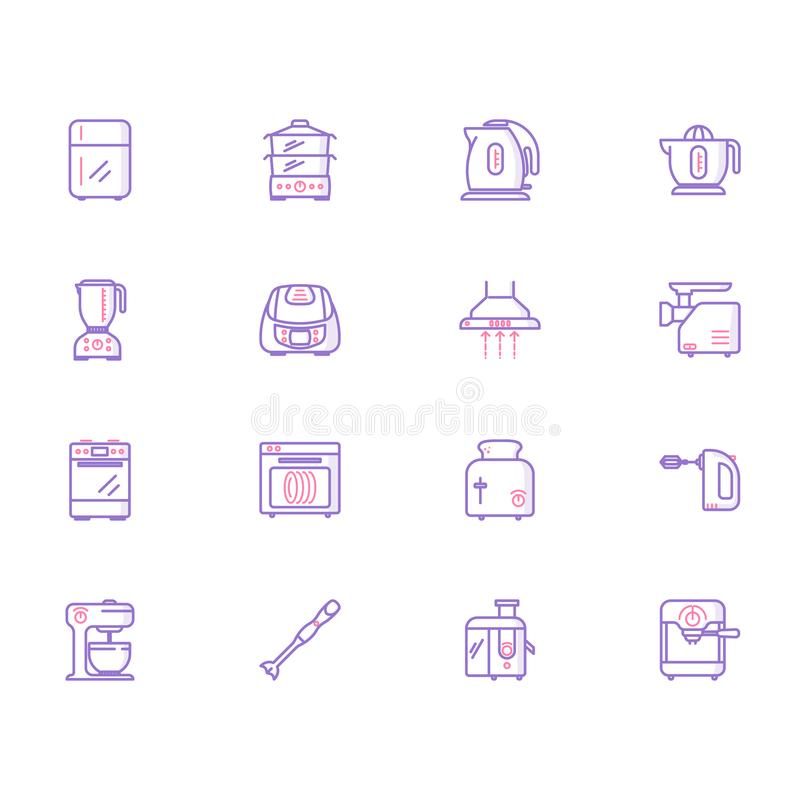 Collection of kitchen appliances icons vector illustration