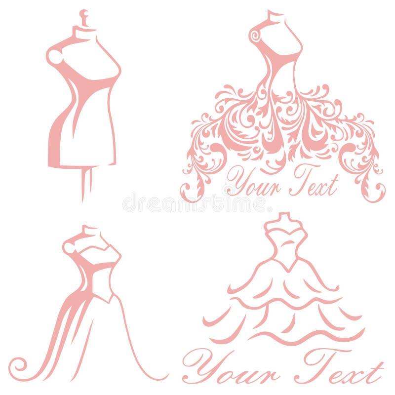 Collection l'épousant nuptiale de Logo Design Set Vector Premium de robe de boutique illustration stock