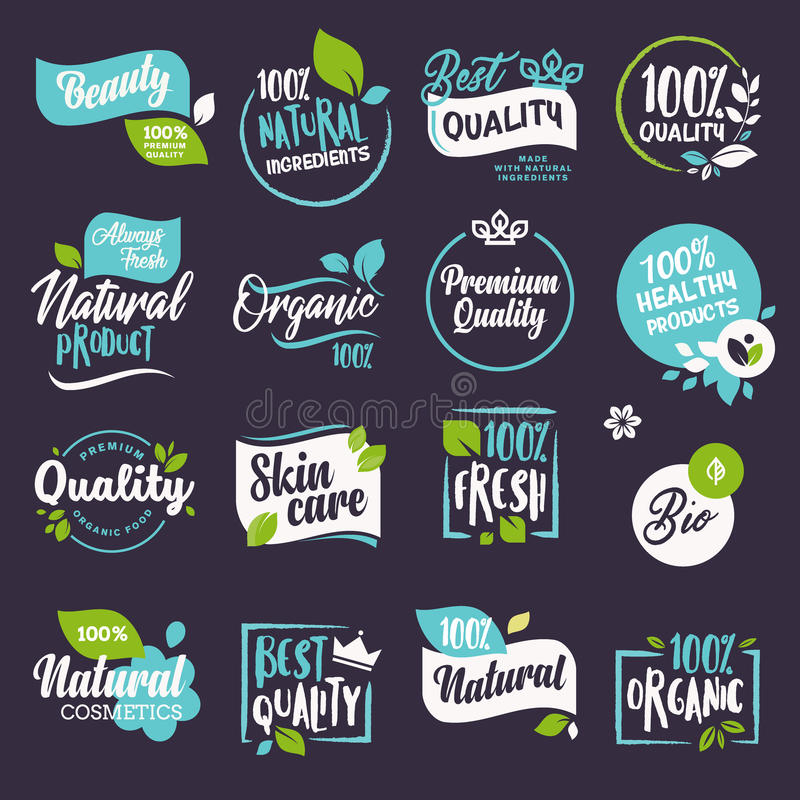 Collection of labels and badges for natural cosmetics and beauty products royalty free illustration