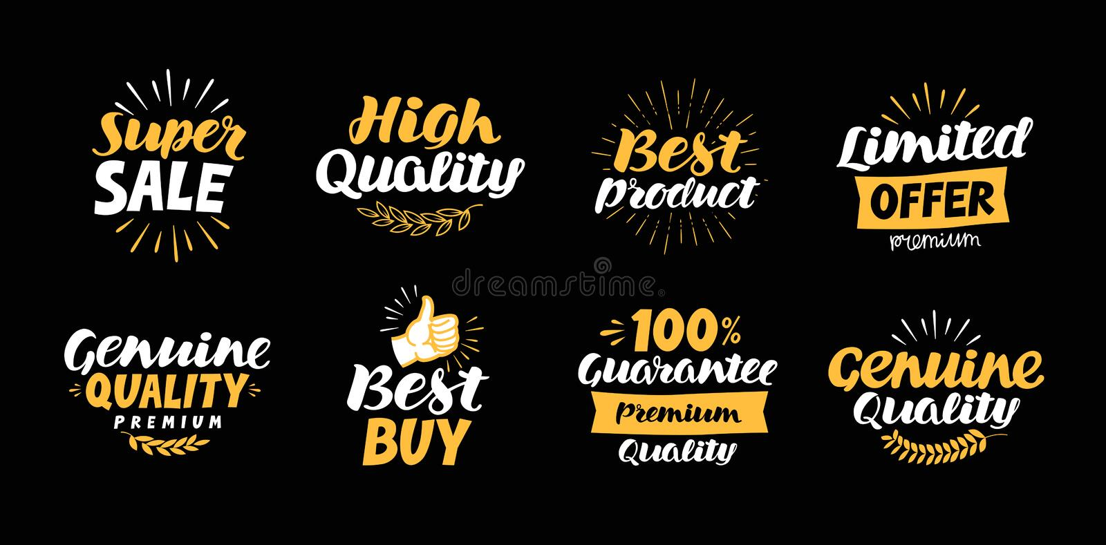 Collection of labels with beautiful letterings such as super sale, high quality, best product, limited offer, genuine vector illustration