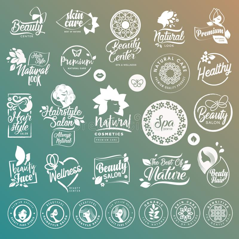 Collection of labels and elements for natural cosmetics and beauty products vector illustration