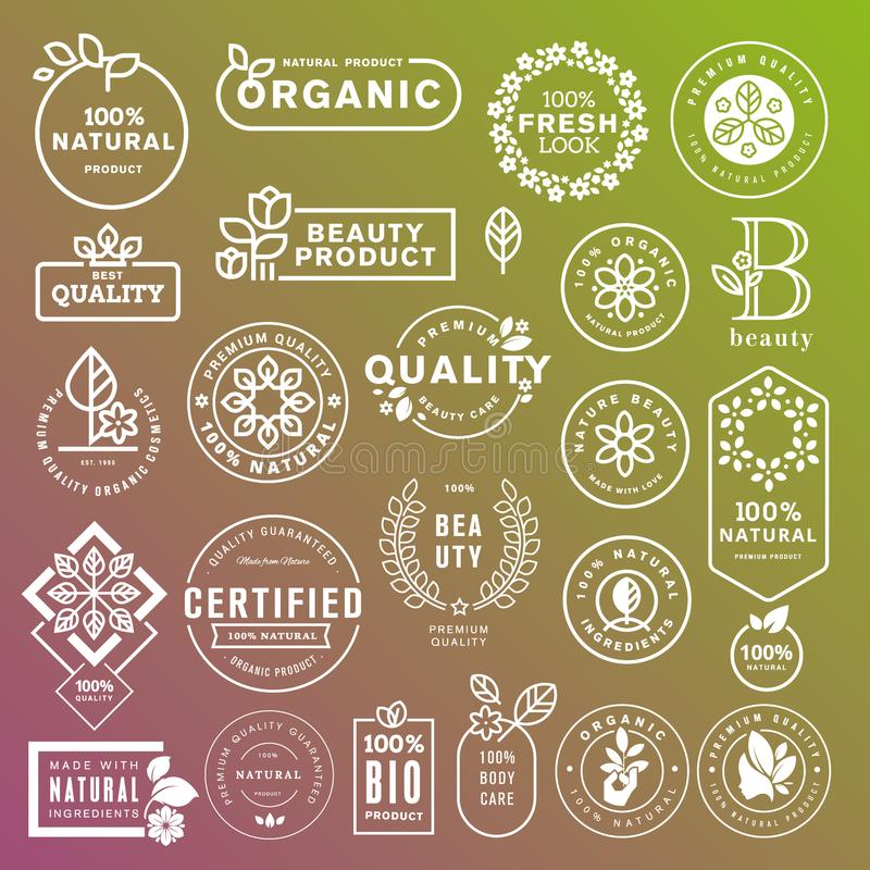 Collection of labels and stickers for natural cosmetics and beauty products stock illustration
