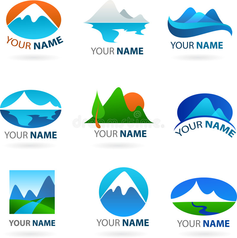 Collection of landscapes logos stock illustration