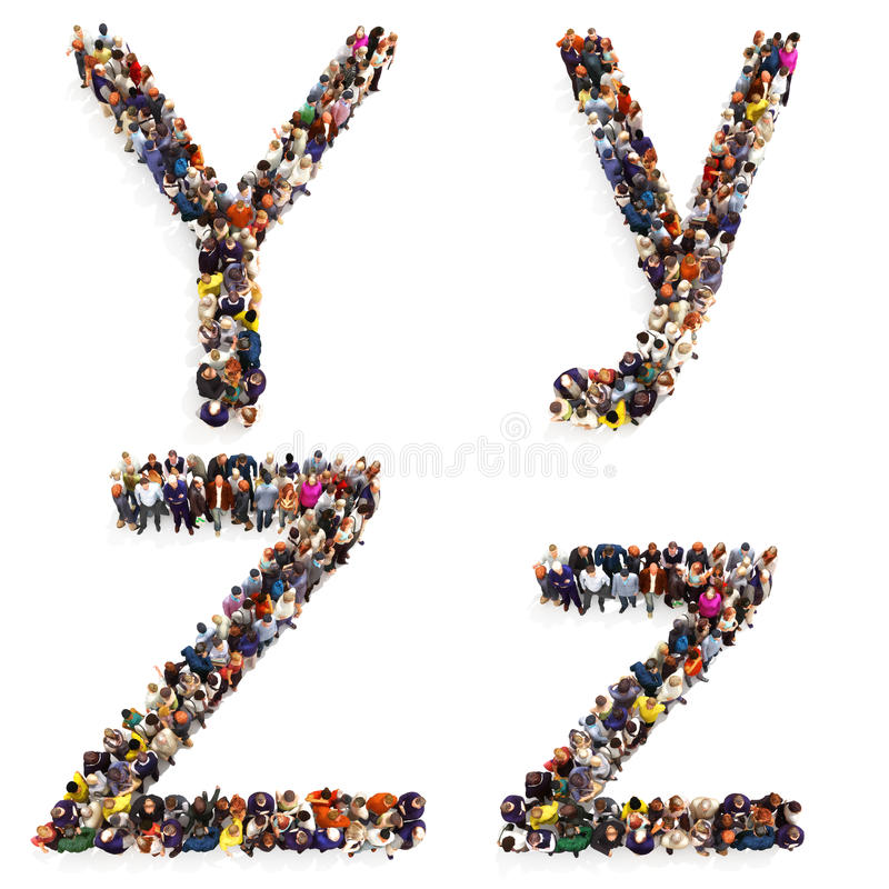 Collection of a large group of people forming the letter Y and Z in both upper and lower case isolated on a white background. royalty free illustration