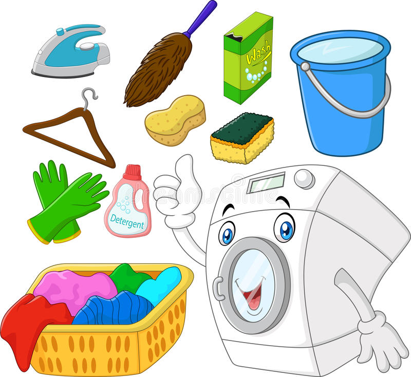 Collection of laundry equipment cartoon. Illustration of Collection of laundry equipment cartoon vector illustration