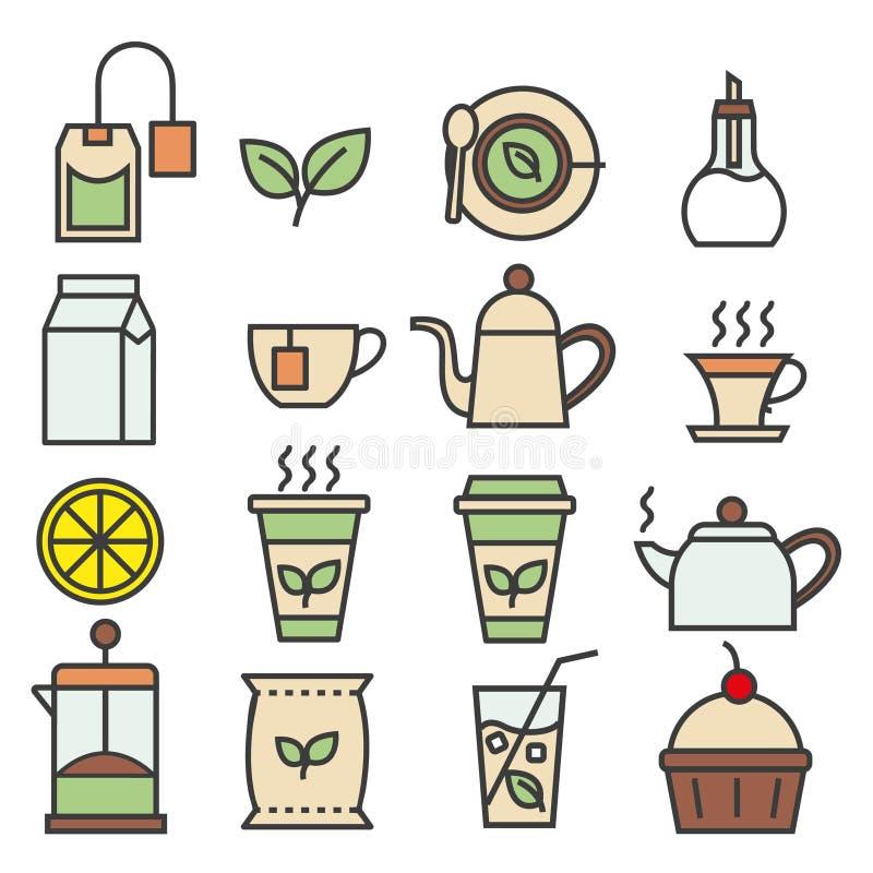 Collection linéaire colorée d'icônes de thé Icônes plates de thé réglées photos libres de droits