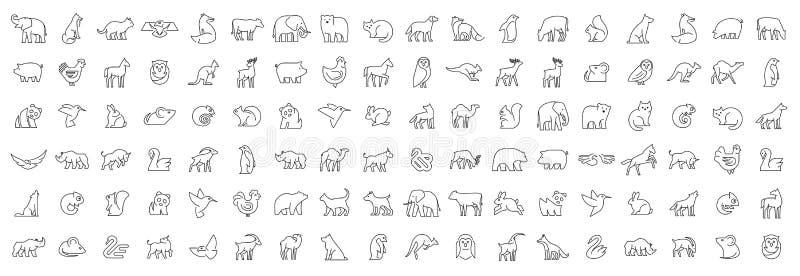 Collection linéaire d'icônes animales images libres de droits