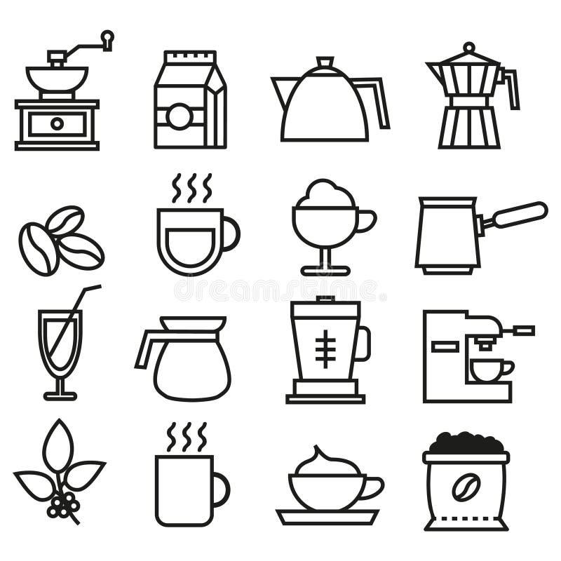 Collection linéaire d'icônes de café noir et blanc Icônes plates de café réglées images libres de droits