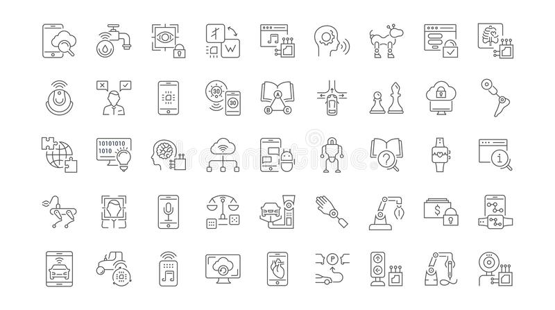 Set of Simple Icons of Artificial Intelligence. royalty free illustration