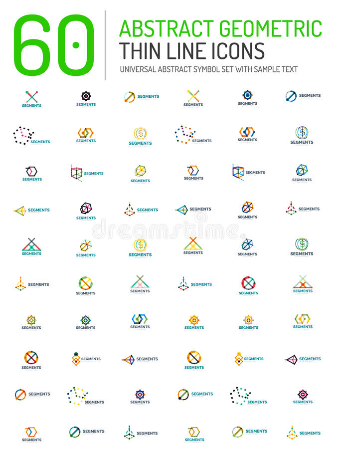 Collection of linear abstract logos stock illustration