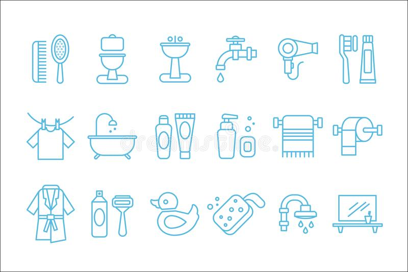 Vector set of linear icons related to bathroom and personal hygiene. Toilet, sink, hairdryer, bathrobe,shaving foam and. Collection of linear icons related to stock illustration