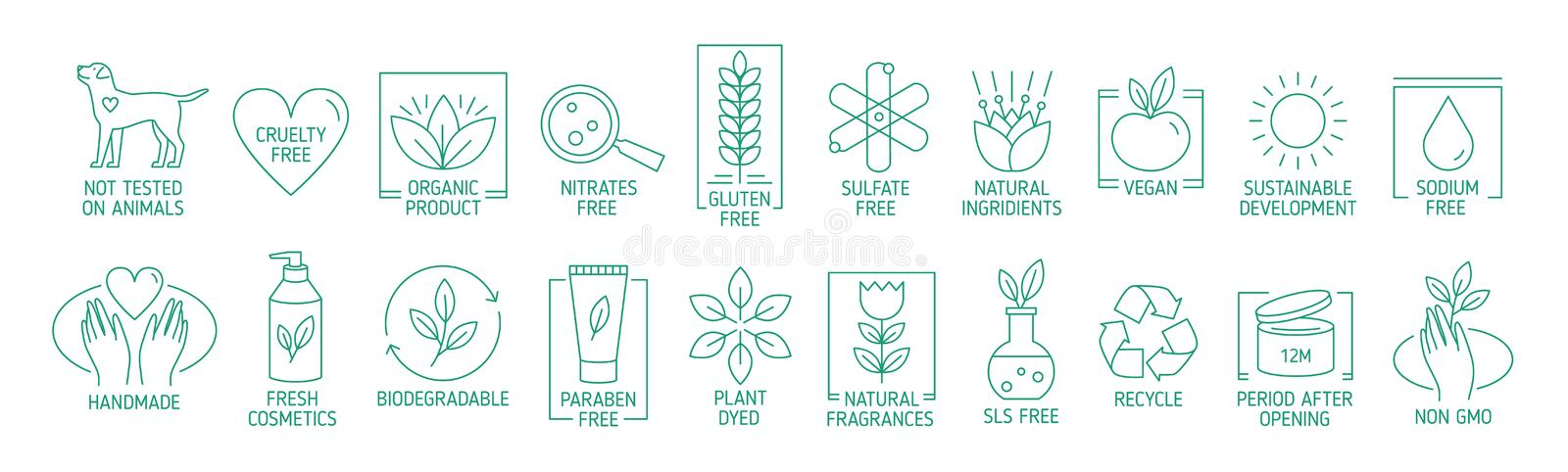 Collection of linear symbols or badges for natural eco friendly handmade products, organic cosmetics, vegan and. Vegetarian food isolated on white background royalty free illustration