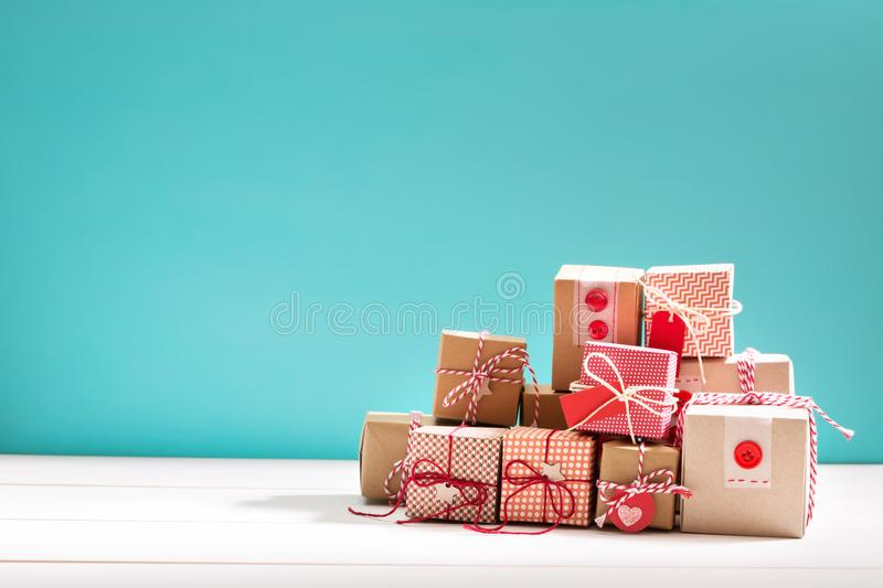 Collection of little handmade gift boxes royalty free stock photos