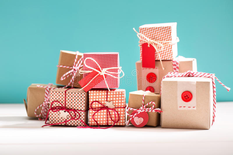 Collection of little handmade gift boxes royalty free stock image