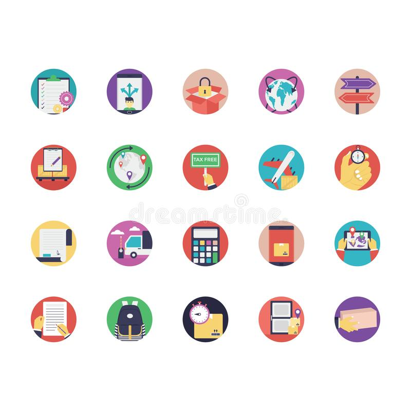 Collection of Logistics Flat Vector Icons vector illustration