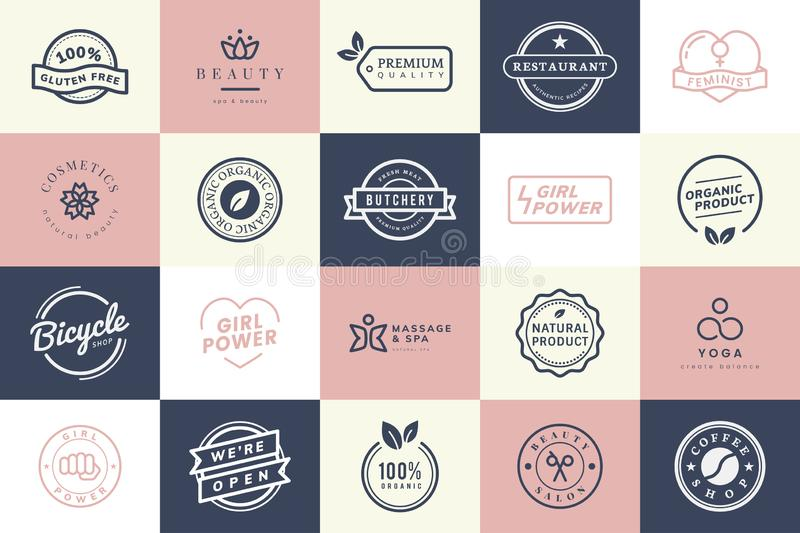 Collection of logo and badge vectors stock illustration